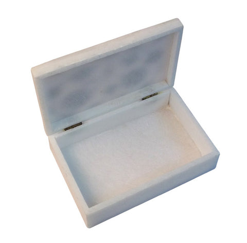 Marble Inlay Jewelry Box with Floral Design