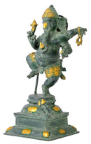 'Lambodar Ganesha' Brass Sculpture in Antique Bronze Finish