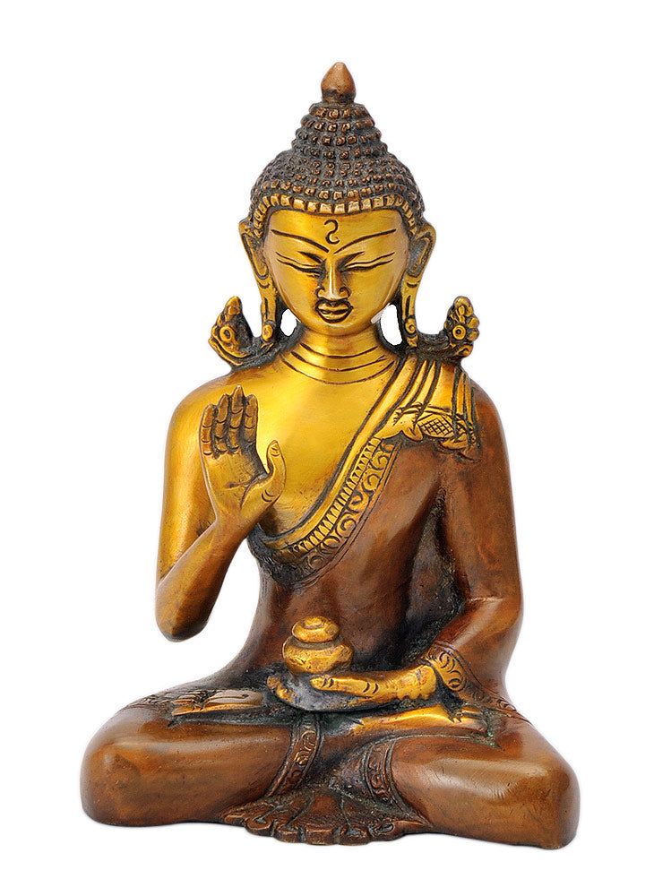 Shakyamuni Buddha Golden Brown Brass Figure