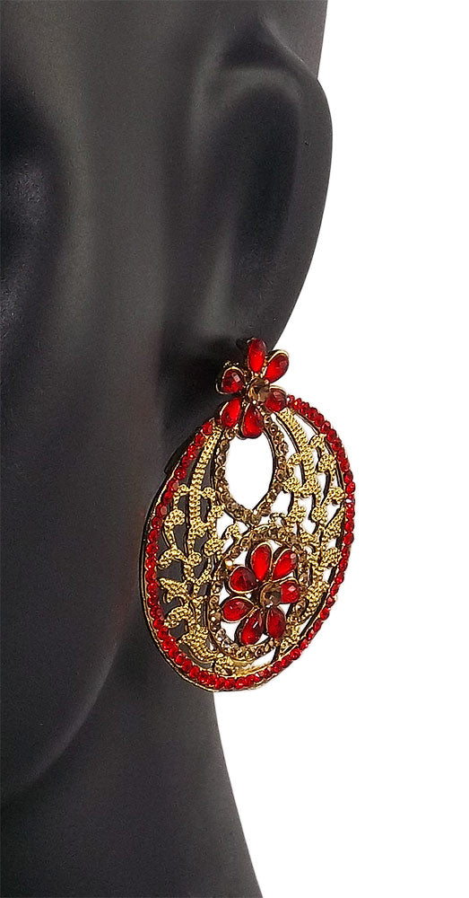 Fashion Fresh Red Flower Earrings Tops