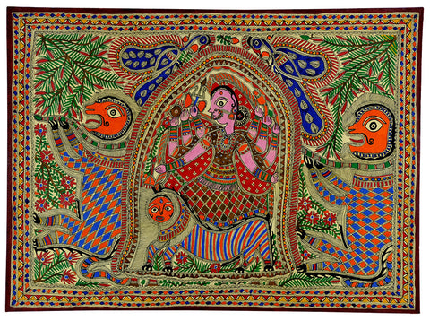 Goddess Durga - Madhubani Painting on Handmade Paper