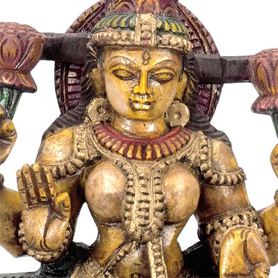 """Goddess Lakshmi"" Wood Statue"