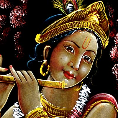 Eternal Musician Lord Krishna - Large Velvet Painting 34""