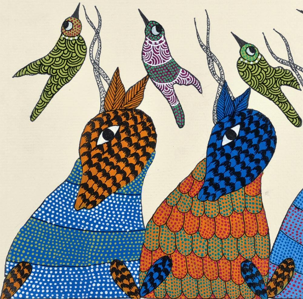 Deer and Bird - Gond Painting