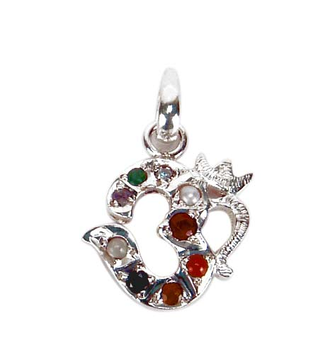 Navratna Aum Pendant in Sterling