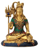 Blessing Lord Shiva Brass Sculpture with Colored Stone Work