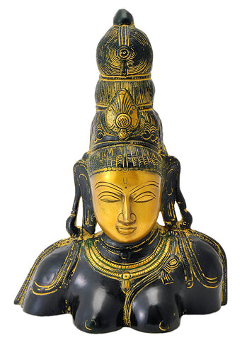 Goddess Shakti Brass Sculpture 10.25""