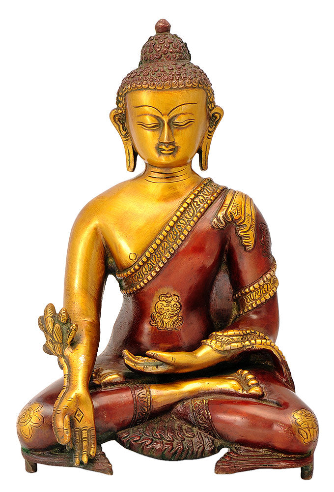 Buddha Ashtamangala Carved Brass Statue in Golden Copper Red Color