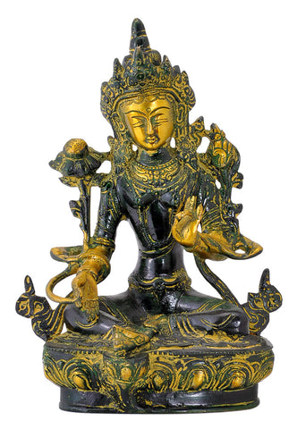 Seated Devi Tara Antiquated Brass Statue 8""
