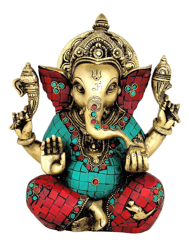 Seated Lord Ganesha Brass Statue