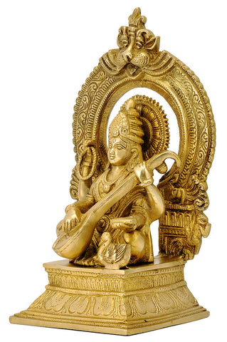 Ma Saraswati Brass Figurine with Beautiful Aureole