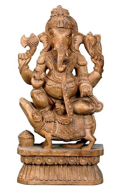 Ganesha Riding Upon His Rat - Wood Sculpture