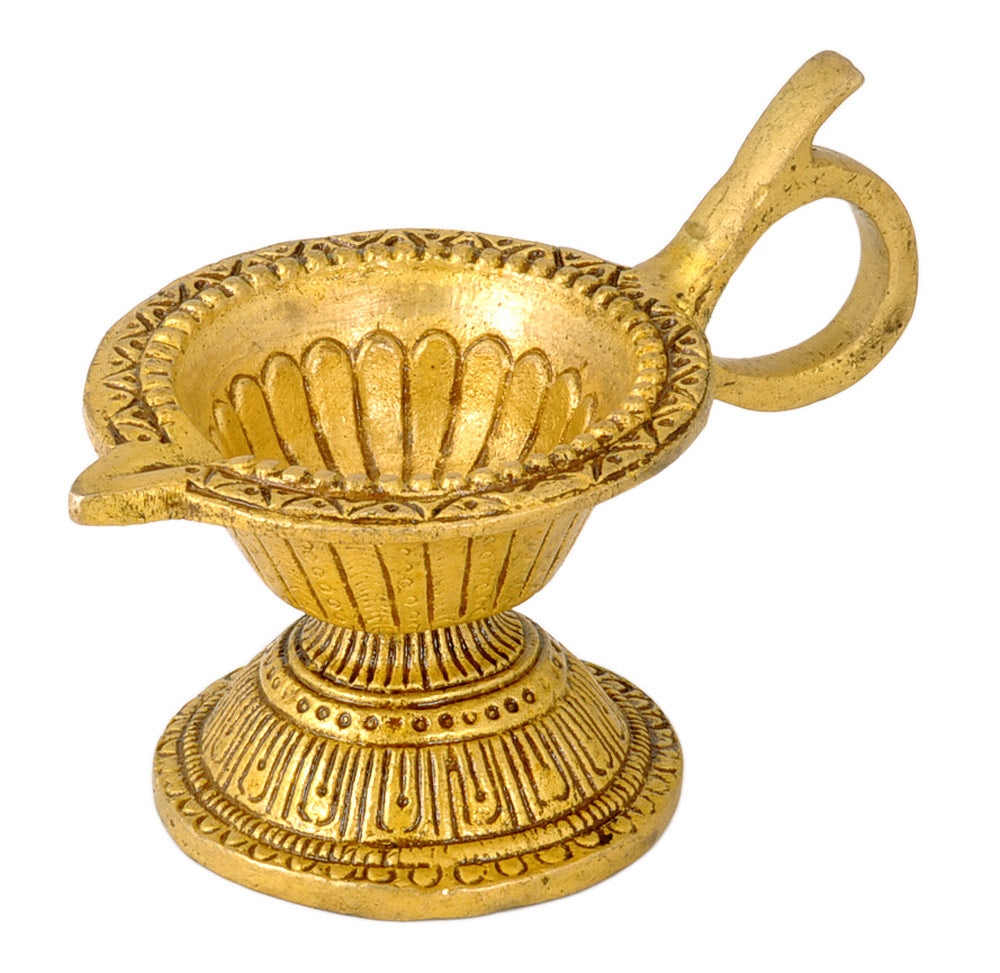 Brass Puja Diya with Handle