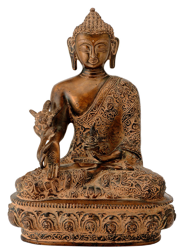 Brass Medicine Buddha in Antique Rust Finish