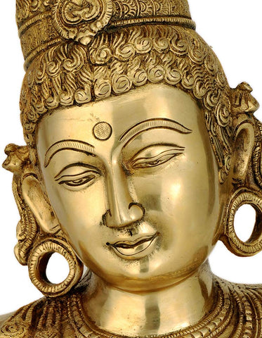 Goddess Parvati - Brass Sculpture 12""