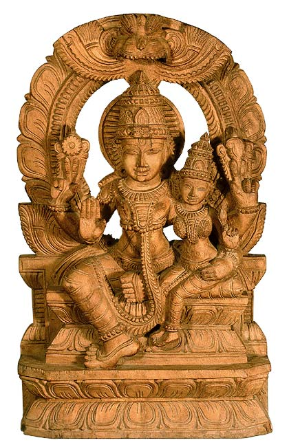Divine Couple Vishnu Lakshmi - Wood Statue