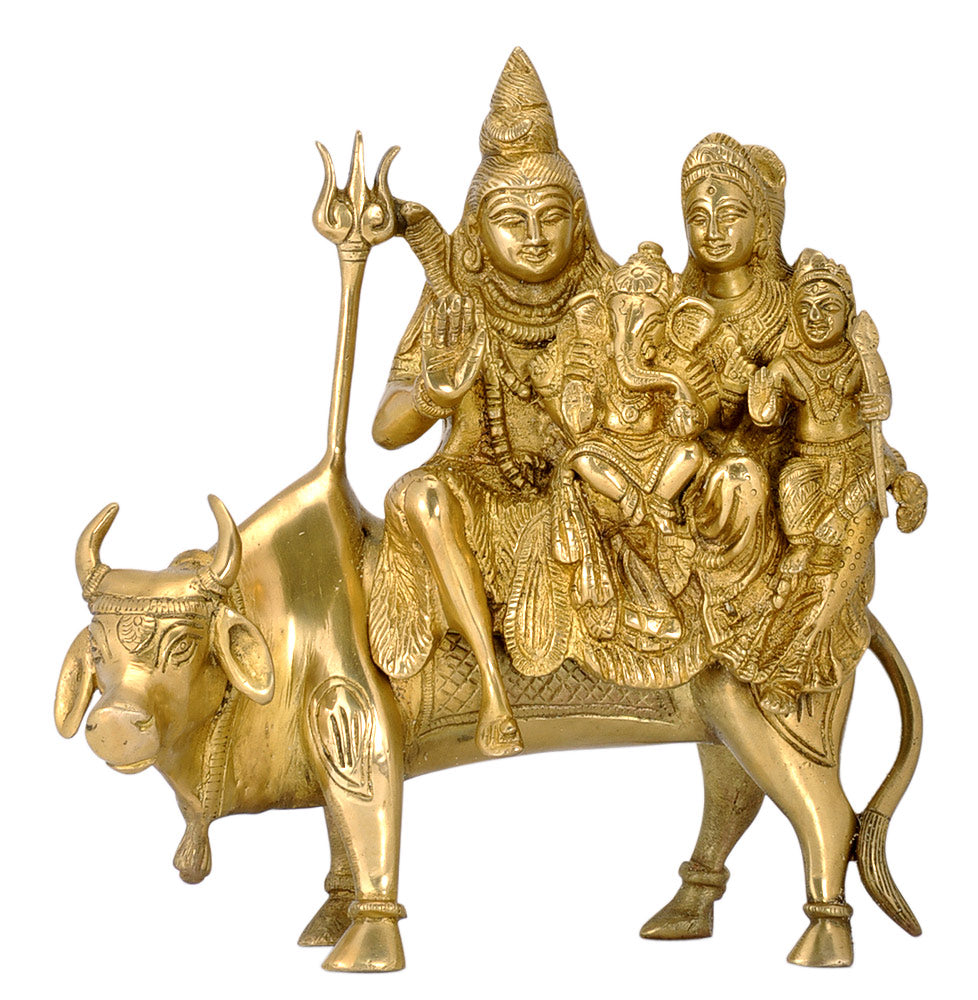 God Shiva with Family Seated on His Mount Nandi 10""