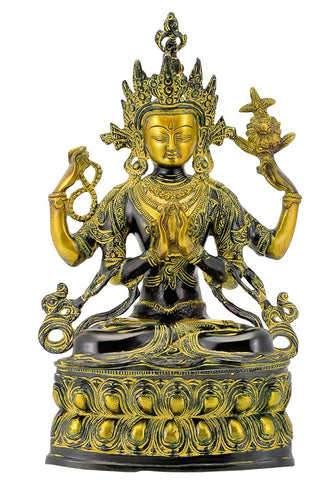 Lord Avalokiteshwara - Antiquated Brass Statue 14""