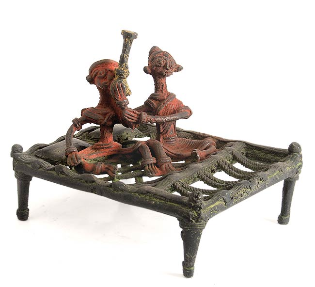 Dhokra Sculpture Tribal Couple 5.25""