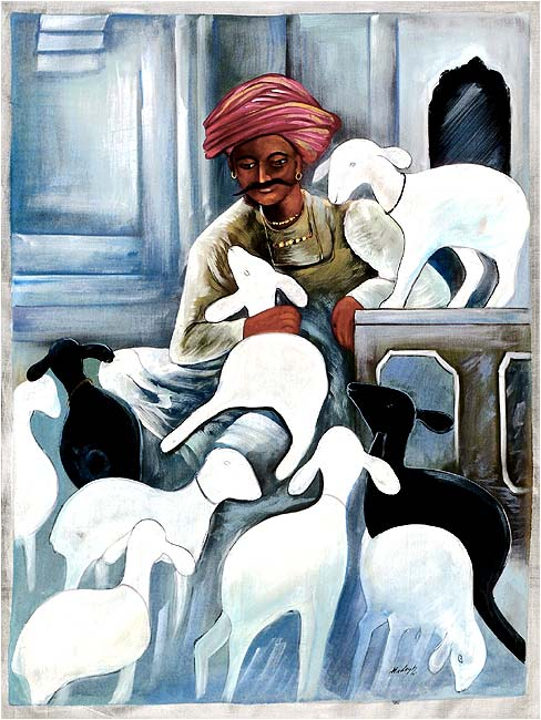 An Indian Shepherd - Silk Painting