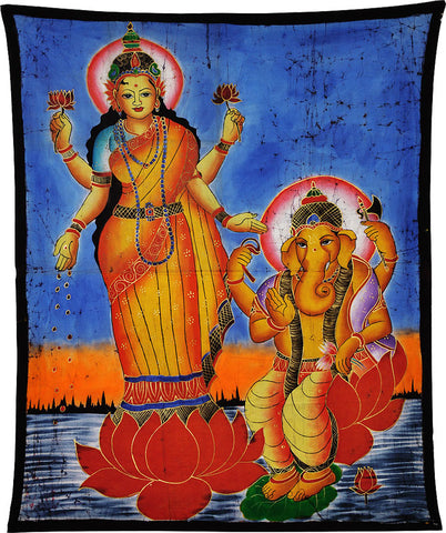 Lakshmi and Ganesha - Batik Painting