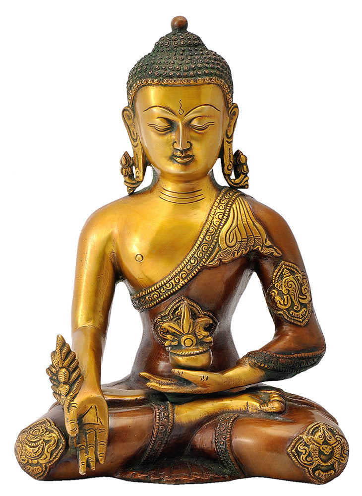 Medicine Buddha with Ashtamangala Signs Carved on His Robe 12""