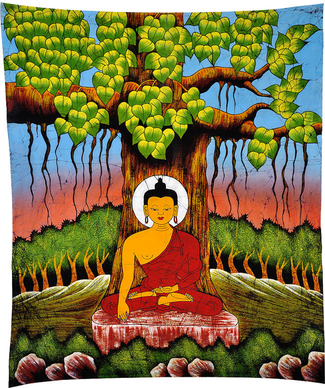 Lord Buddha Under the Bodhi Tree - Batik Painting