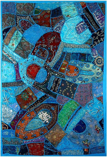 """Blue Mosaic"" Wall Tapestry of Gujarat"