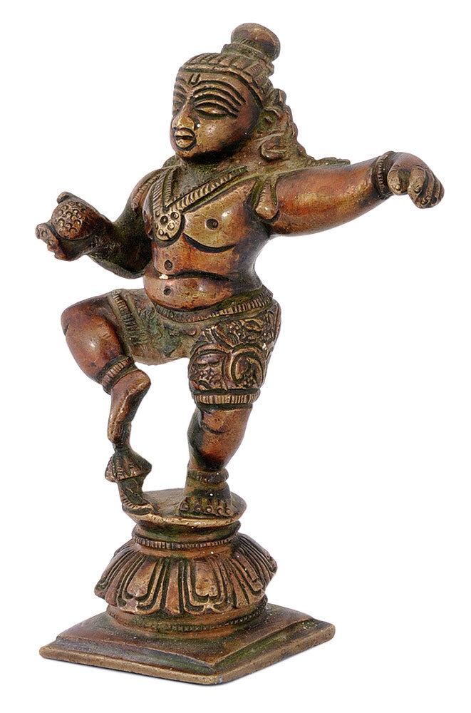 Antique Finished Brass Dancing Krishna
