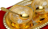 Gold Plated Metal Bowl Gift Set of 5 pcs
