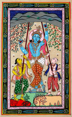 Krishna Lifts Govardhana Hill 18""