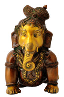 Crawling Baby Ganesha Rare Form Brass Sculpture