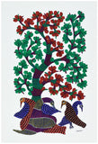 Birds Resting under Tree - Gond Tribal Art Painting