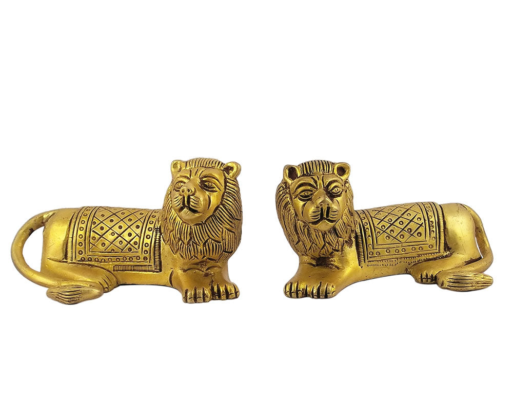 Brass Seated Lion Pair