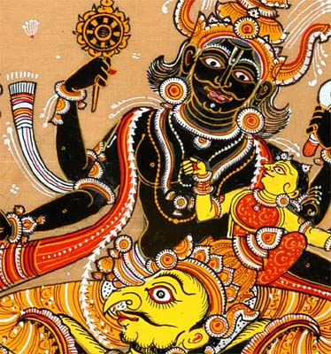 Sri Vishnu With Lakshmi Riding on Garuda