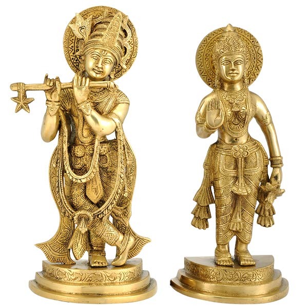 Pair of Radha Krishna Statues in Brass
