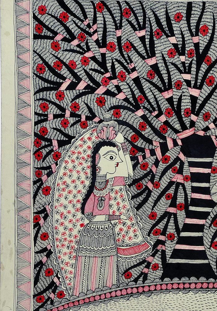 Village Pond - Madhubani Folkart on Handmade Paper