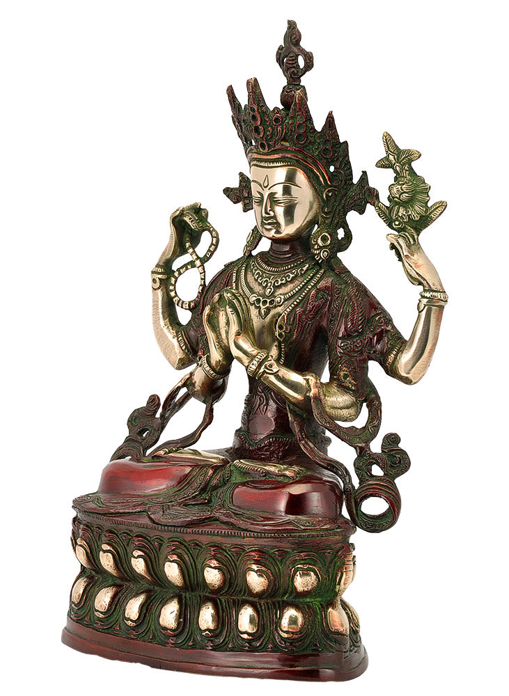 Antiqued Brass Avalokiteshwara Statue 14.50""