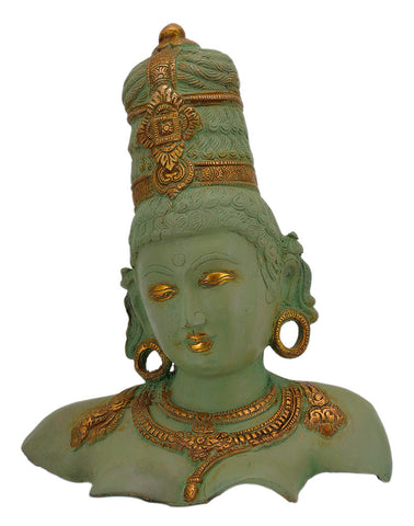 Goddess Bust - Antiquated Brass Sculpture