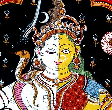 "The Divine Union ""Ardhanarishwar"" - Patachitra Painting 30"""