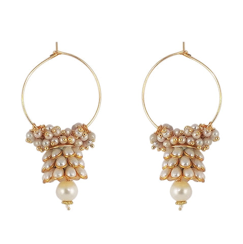 Traditional Indian Style Bali Jhumki Earrings White for Women