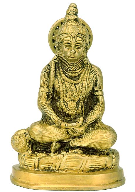 Hanuman in Meditation - Brass Statue 6""
