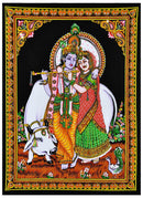 Radha Krishna Cotton Painting