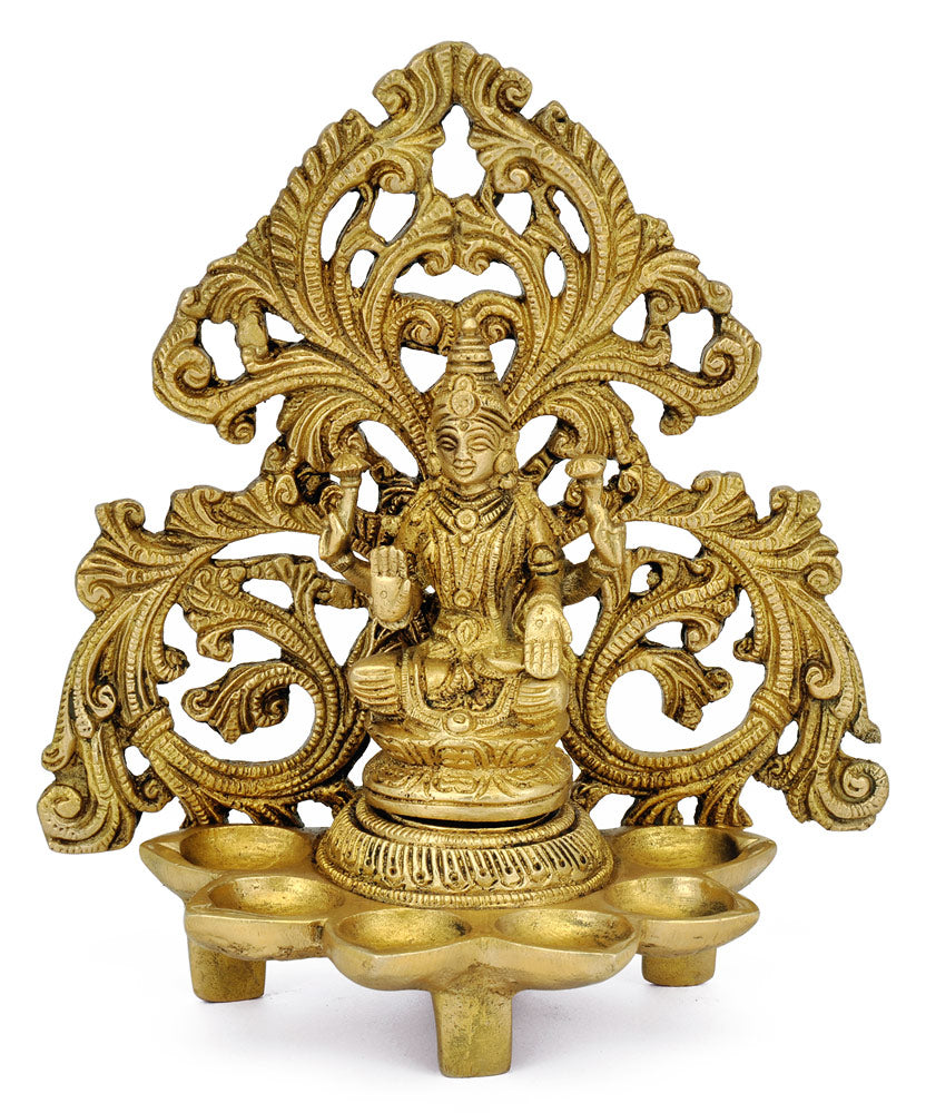 Brass Lamp with Goddess Laxmi 7""
