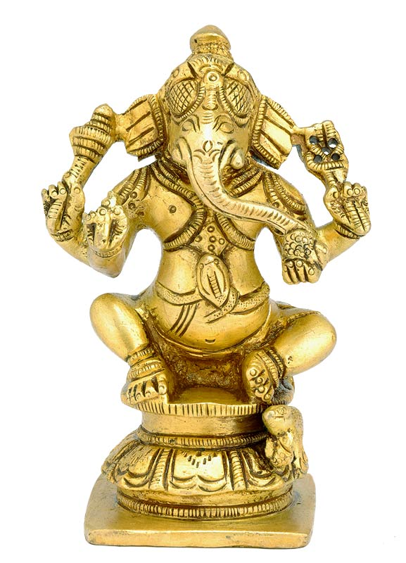 Benevolent Hindu God Ganesha - Brass Sculpture
