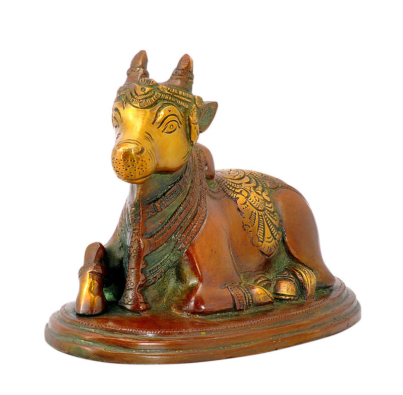 Seated Nandi Bras Statue 5.50""