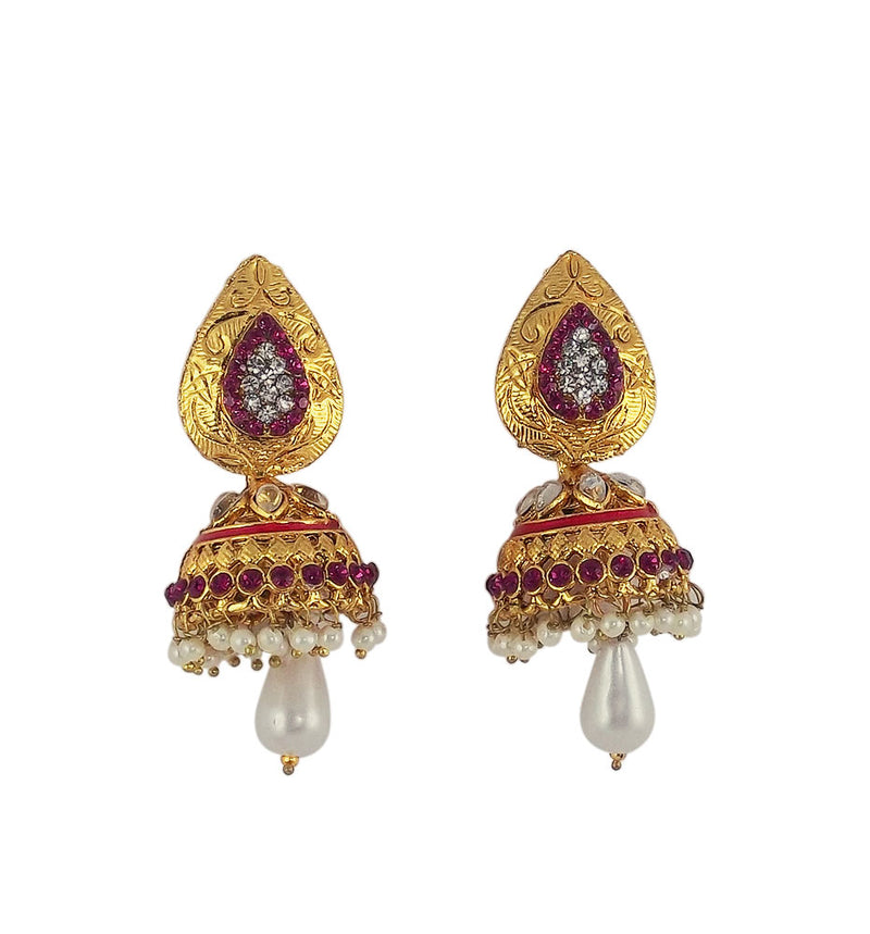 Stone Studded Traditional Jhumki Earrings