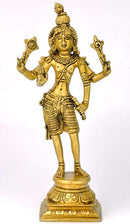 "Avatar of Lord Vishnu ""Shri Krishna"" Brass Statue 9"""