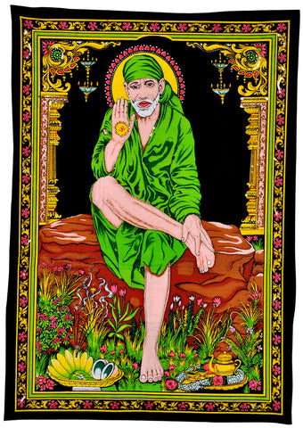 Saint of Shirdi Sai Baba Cotton Tapestry