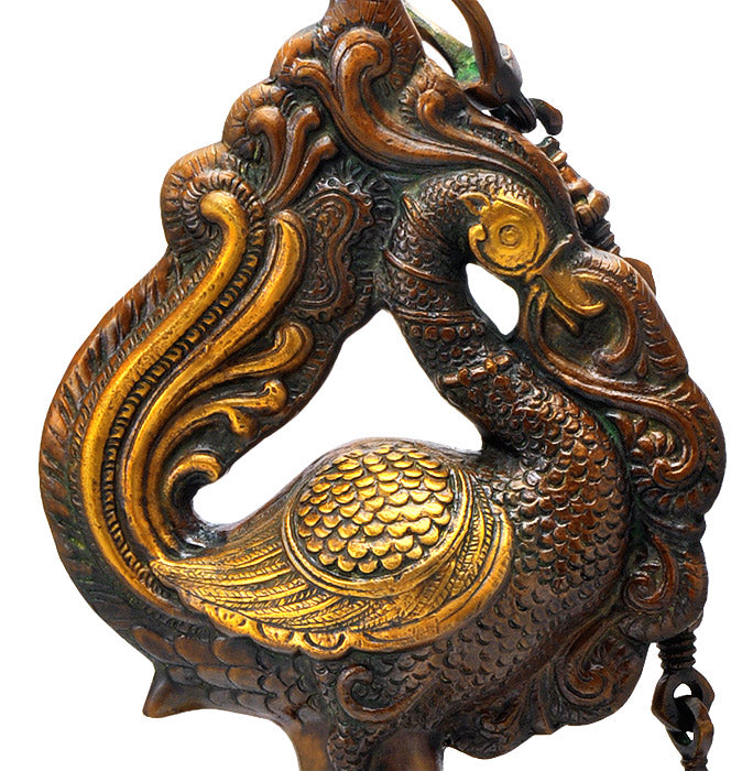 Large Peacock Bell for Temple or Home Decor